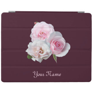 Capa Smart Para iPad Três rosas cor-de-rosa. Adicione seu texto