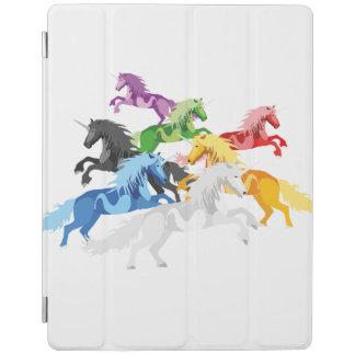 Capa Smart Para iPad Unicórnios selvagens coloridos da ilustração