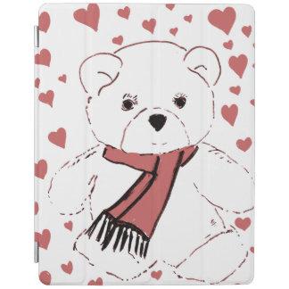 Capa Smart Para iPad Urso de ursinho branco com corações vermelhos