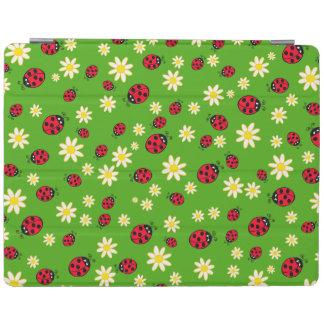 Capa Smart Para iPad verde bonito do teste padrão de flor do joaninha e