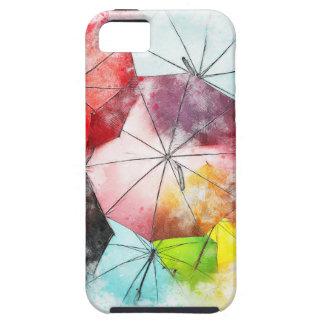 Capa Tough Para iPhone 5 Abstrato colorido dos guarda-chuvas