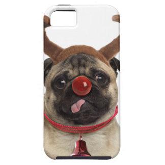 Capa Tough Para iPhone 5 Antlers do Pug - pug do Natal - Feliz Natal