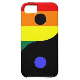 Capa Tough Para iPhone 5 Arco-íris Yin e Yang - cores do arco-íris do