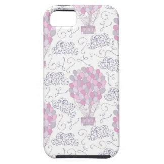 Capa Tough Para iPhone 5 Balões de ar quente na arte cor-de-rosa do
