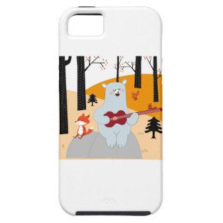 Capa Tough Para iPhone 5 Bonito cante um lobo da raposa da canção do verão