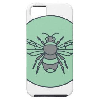 Capa Tough Para iPhone 5 Bumble linha do círculo da abelha a mono