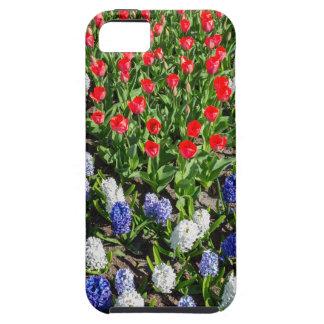 Capa Tough Para iPhone 5 Campo de flores com as tulipas azuis e os jacintos