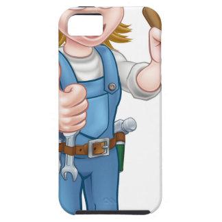 Capa Tough Para iPhone 5 Canalizador fêmea dos desenhos animados que