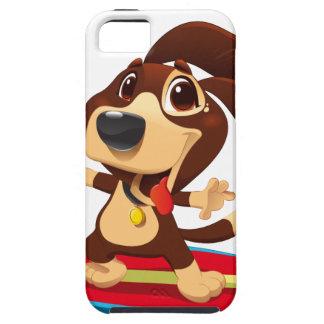 Capa Tough Para iPhone 5 Cão engraçado bonito em uma ilustração da prancha