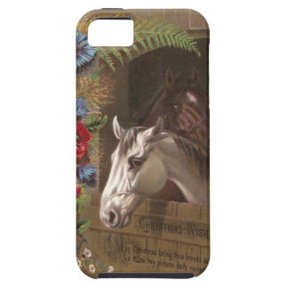 Capa Tough Para iPhone 5 Cavalo do natal vintage