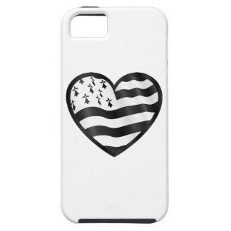 Capa Tough Para iPhone 5 Coração com bandeira de Bretin para dentro