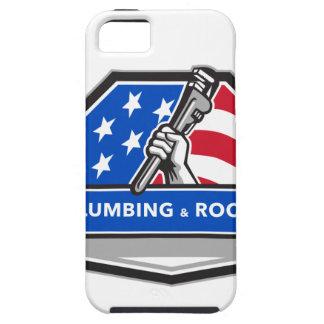Capa Tough Para iPhone 5 Crista da bandeira dos EUA da chave de tubulação