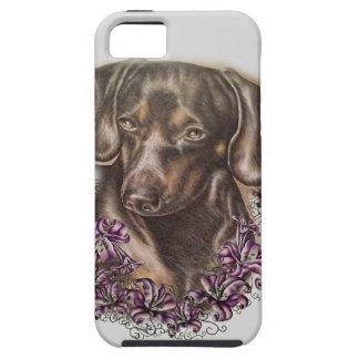 Capa Tough Para iPhone 5 Desenho da arte do cão e dos lírios do Dachshund