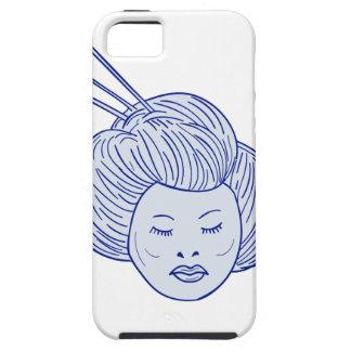Capa Tough Para iPhone 5 Desenho da cabeça da menina de gueixa
