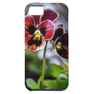 Capa Tough Para iPhone 5 Duo da flor do amor perfeito do Bordéus