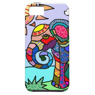 Capa Tough Para iPhone 5 Elefante vibrante colorido da flor do abstrato da