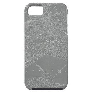 Capa Tough Para iPhone 5 Esboço do mapa da cidade de Boston