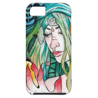 Capa Tough Para iPhone 5 Evergreen - retrato da aguarela
