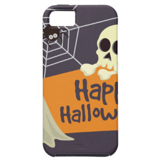 Capa Tough Para iPhone 5 Fantasmas felizes e Crossbones do Dia das Bruxas