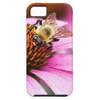 Capa Tough Para iPhone 5 Flor roxa do cone com abelha