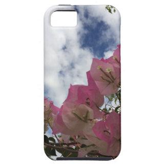 Capa Tough Para iPhone 5 flores cor-de-rosa contra um céu azul