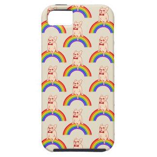 Capa Tough Para iPhone 5 Frenchie comemora o mês do orgulho no arco-íris de