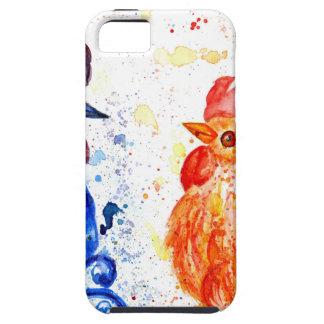 Capa Tough Para iPhone 5 Galos alaranjados e azuis