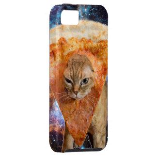 Capa Tough Para iPhone 5 Gato da pizza no espaço que veste a fatia da pizza