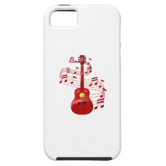 Capa Tough Para iPhone 5 Guitarra acústica vermelha com notas da música