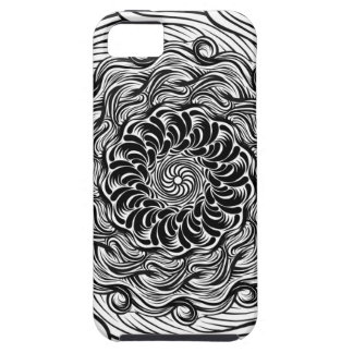 Capa Tough Para iPhone 5 Ilusão óptica do Doodle ornamentado do zen preto e