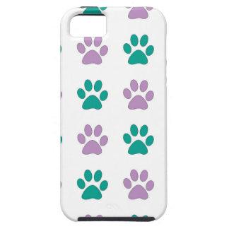 Capa Tough Para iPhone 5 Impressões da pata do filhote de cachorro do roxo