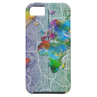 Capa Tough Para iPhone 5 madeira 4 do mapa do mundo