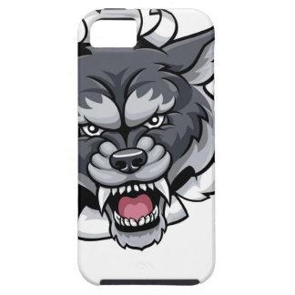 Capa Tough Para iPhone 5 Mascote do grilo do lobo que quebra o fundo
