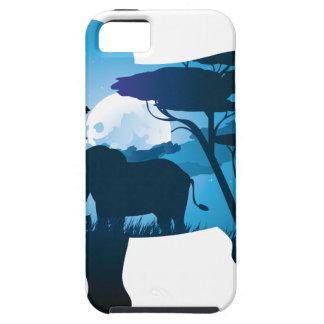 Capa Tough Para iPhone 5 Noite africana com elefante 6