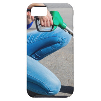 Capa Tough Para iPhone 5 O amarelo de enchimento da mulher pode com