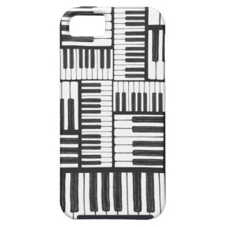 Capa Tough Para iPhone 5 O piano fecha a caixa preto e branco do iPhone