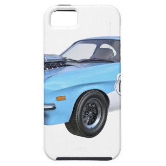 Capa Tough Para iPhone 5 os anos 70 azuis e carro branco do músculo