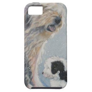 Capa Tough Para iPhone 5 Pintura inglesa velha do SheepDog do inverno