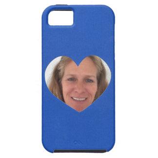 Capa Tough Para iPhone 5 Quadro azul da foto do coração