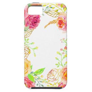 Capa Tough Para iPhone 5 Rosa do rosa da aguarela com quadro da folha de