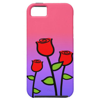 Capa Tough Para iPhone 5 Rosas vermelhas