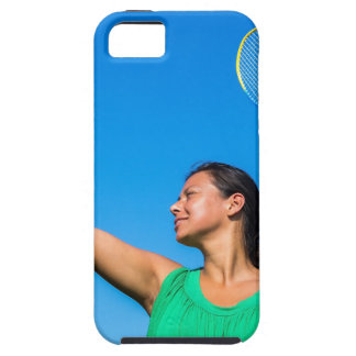 Capa Tough Para iPhone 5 Saque colombiano da mulher com raquete de