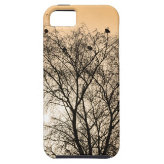 Capa Tough Para iPhone 5 Sepia que Roosting pássaros