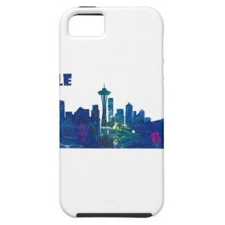 Capa Tough Para iPhone 5 Silhueta da skyline de Seattle