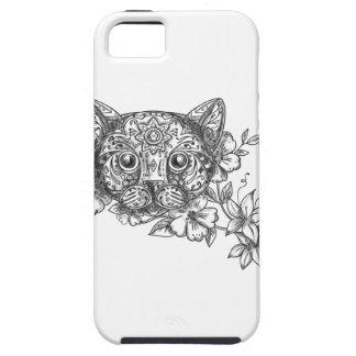 Capa Tough Para iPhone 5 Tatuagem principal da flor do jasmim do gato