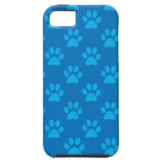Capa Tough Para iPhone 5 Teste padrão azul das patas do filhote de cachorro