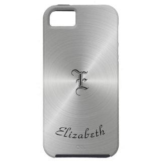 Capa Tough Para iPhone 5 Textura lustrada circular do metal, personalizada