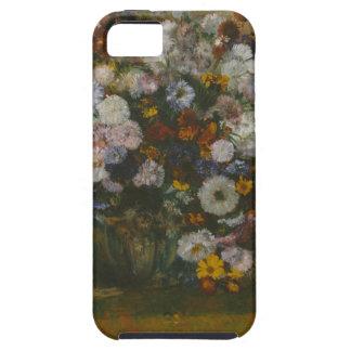 Capa Tough Para iPhone 5 Uma mulher assentada ao lado de um vaso das flores