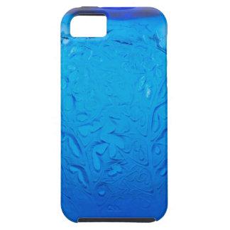 Capa Tough Para iPhone 5 Vaso de vidro do art deco azul com folhas
