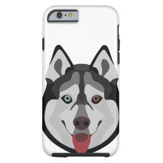 Capa Tough Para iPhone 6 A ilustração persegue o rouco Siberian da cara